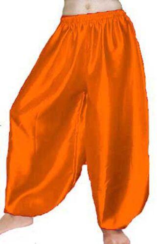 ORANGE Women Satin Harem Yoga Pant Boho Aladdin Harem Bally Dance Pant