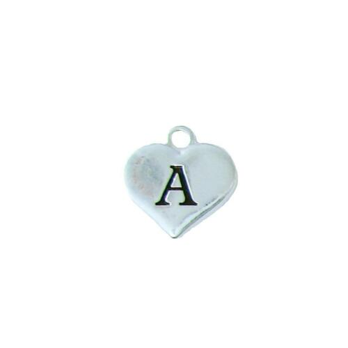 Custom Initial Silver Heart Charms To Add To Any Jewelry Item All 26 Letters