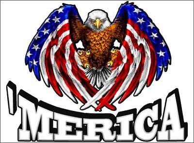 "10/"" Vinyl Vehicle Decal USA Sticker Laptop Skins American Eagle /'MERICA"