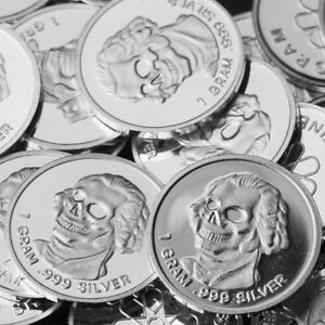 King-of-Terrors-Design-Lot-of-30-1g-999-Fine-Silver-Round-Bar-Mini-Coin-RE322