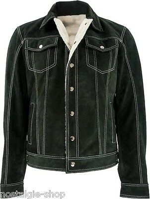Wildleder Jeans style Lederjacke mit Fell warm wie Nubuk Leder 501 gefüttert | eBay