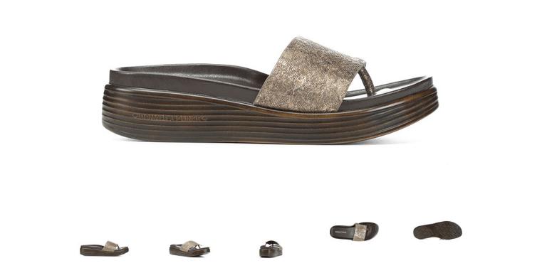 Donald Pliner Fifi 19-FX Taupe Folie Metallisch Sandalen Damen Größe 6-10 / Neu