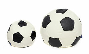 Kids-Childrens-Faux-Leather-Football-World-Cup-Filled-Bean-Bags-In-Black-amp-Cream