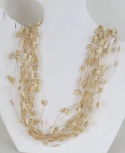 Creamy Ripple Multi Strand Fiber Art Necklace, 20 Inch, Handcrafted in the USA