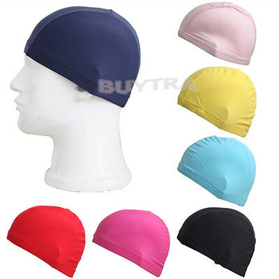 Easy Fit Adult Swimming Hat Cap Swim Mens Womens Unisex Polyester Fabric New