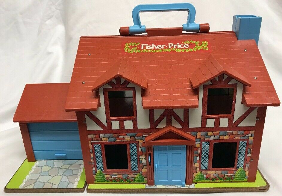 Vintage Fisher Price Little People 952 Brown Tudor House HOUSE ONLY 1980