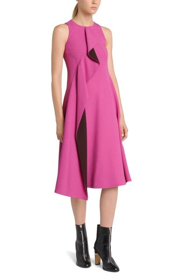 NWT BOSS FS_Dianea Flounced Flounced Flounced Trim Dress in Pink Combo - Size 2 US 59a8e1
