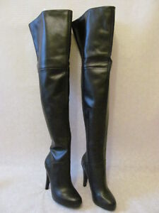 colin stuart black leather knee high stretch leather back