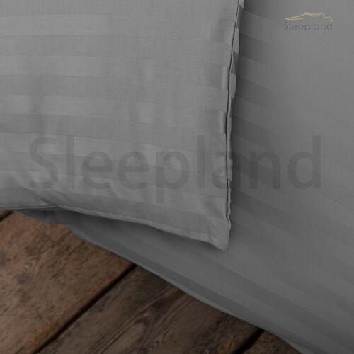 300 TC 2 x Housewife Taie d/'oreiller de luxe 100/% Coton Égyptien Satin à rayures
