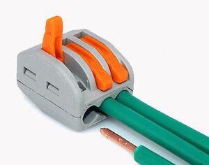 10ausf hrbarer federhebel klemmenblock elektrisch kabel 3wire steckverbinder yr ebay. Black Bedroom Furniture Sets. Home Design Ideas