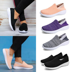 womens solid color sneakers slipon athletic trainers