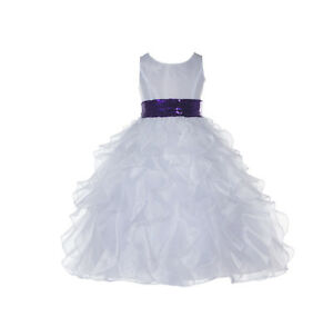 e60f5188064 Image is loading New-Wedding-Pageant-White-Ruffled-Organza-Flower-Girl-