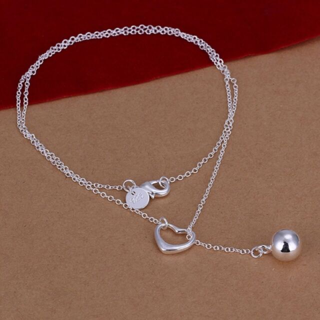 Statement Women 925 Sterling Silver Plated Ball Charm Bib Pendant Necklace Gift