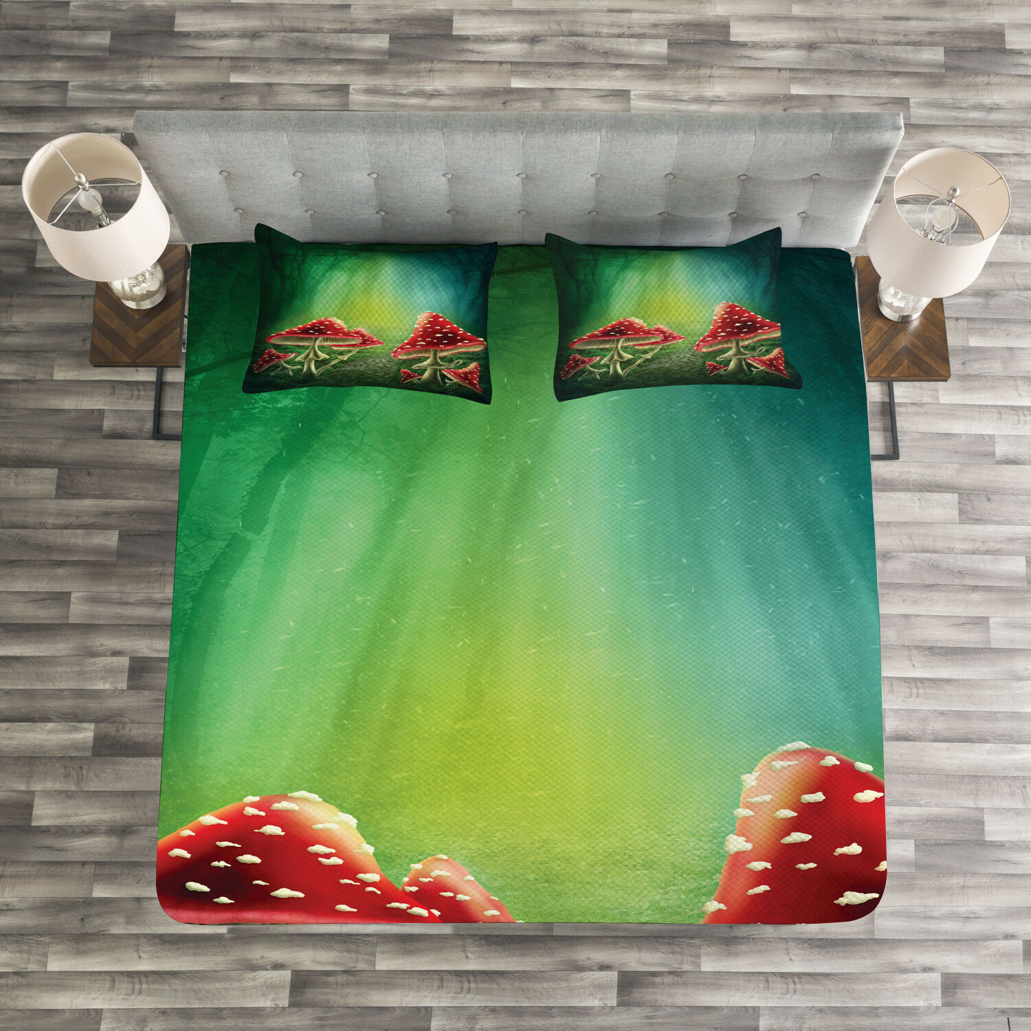 colorful Quilted Bedspread & Pillow Shams Set, Mysterious Mushrooms Print