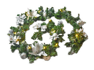 Details About Pre Lit Silver Luxury Fireplace Christmas Garland Warm White Lights 1 8m 2 7m