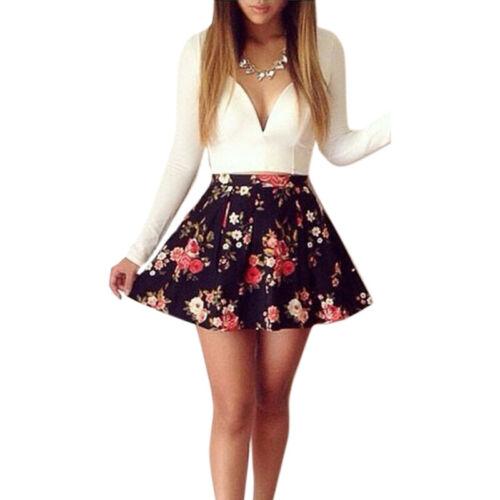 Damen Blume Skaterkleid V-Ausschnitt Partykleid Freizeitkleid Cocktail Minikleid