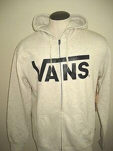 Vans-Shoes-Mens-Classic-Zipper-hoodie-Sweatshirt-Off-White-Black-NWT-Free-Ship