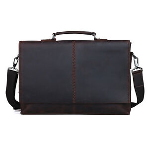 Image is loading Vintage-Leather-Briefcases-Yuppie-Style-Office-Bag -Messenger- fd79352db2a08