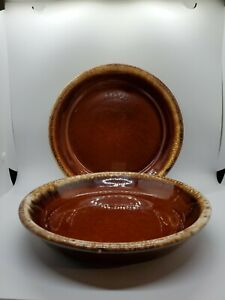 2-Hull-Pottery-Brown-Drip-Pie-Baking-Plate-9-5-034-Set-of-2-Vintage