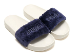b113c2960126 Image is loading FILA-Drifter-Fur-Navy-Women-Slide-Slippers-Sandals-