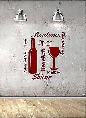Verre vin Wall Art Vinyl Autocollant Home cuisine salle à manger Salon À faire soi-même