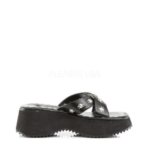 Sandaletten Kunstleder Flip Demonia Schwarz 05 gvqOnwxB