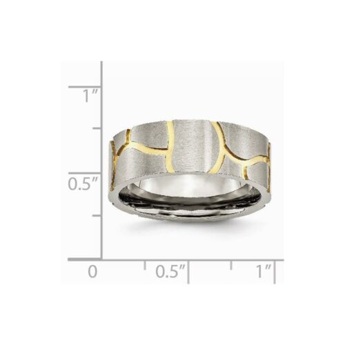 Details about  /Titanium Grooved Yellow IP-plated Men/'s 8 MM Brushed Wedding Band