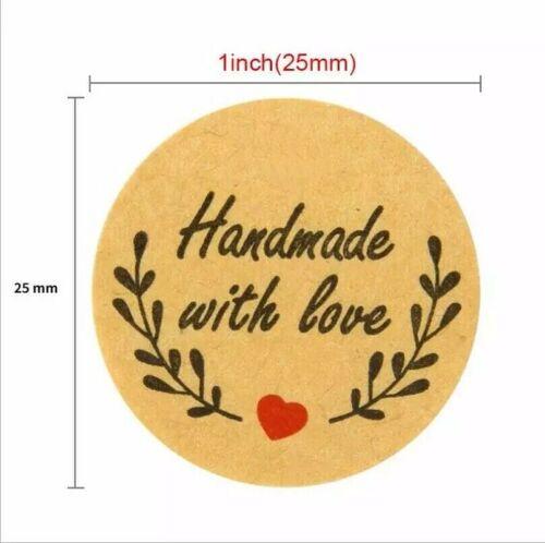Ronda gracias hecho a mano con Amor Pegatinas caja de regalo de alimentos Craft Etiquetas