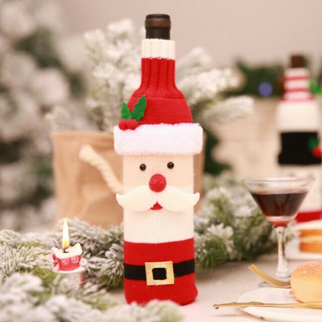 New Christmas Santa Claus Wine Bottle Cover Christmas Table Dinner Decorations