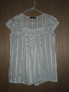 Shapes-Pretty-Sheer-Ivory-Blouse-Size-XS-Free-Shipping