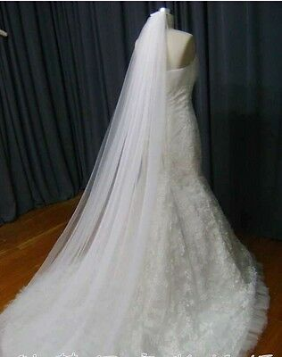 Beautiful Bridal Wedding lace Veil Cathedral long 2Tier With Comb 3M ivory//white