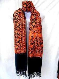 Kashmir Wool Shawl Pashmina Scarf Crewel Embroidery Indian Shawls
