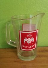 TRUE VTG HEAVY GLASS RON BACARDI RUM DRINK BEER PITCHER (BAR, PARTY)
