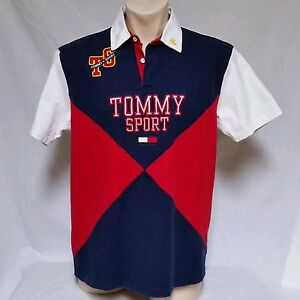 a44a52448 VTG Tommy Hilfiger Polo Shirt 90's Rugby Spell Out Sport Colorblock ...