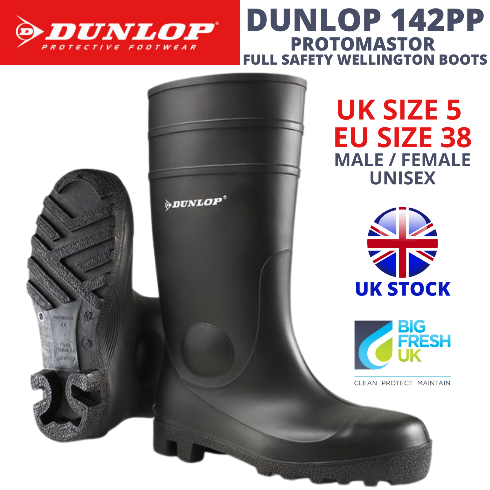 DUNLOP WELLINGTON BOOTS 142PP PROTOMASTOR SAFETY WELLIES STEEL TOE - UK 5 EU 38