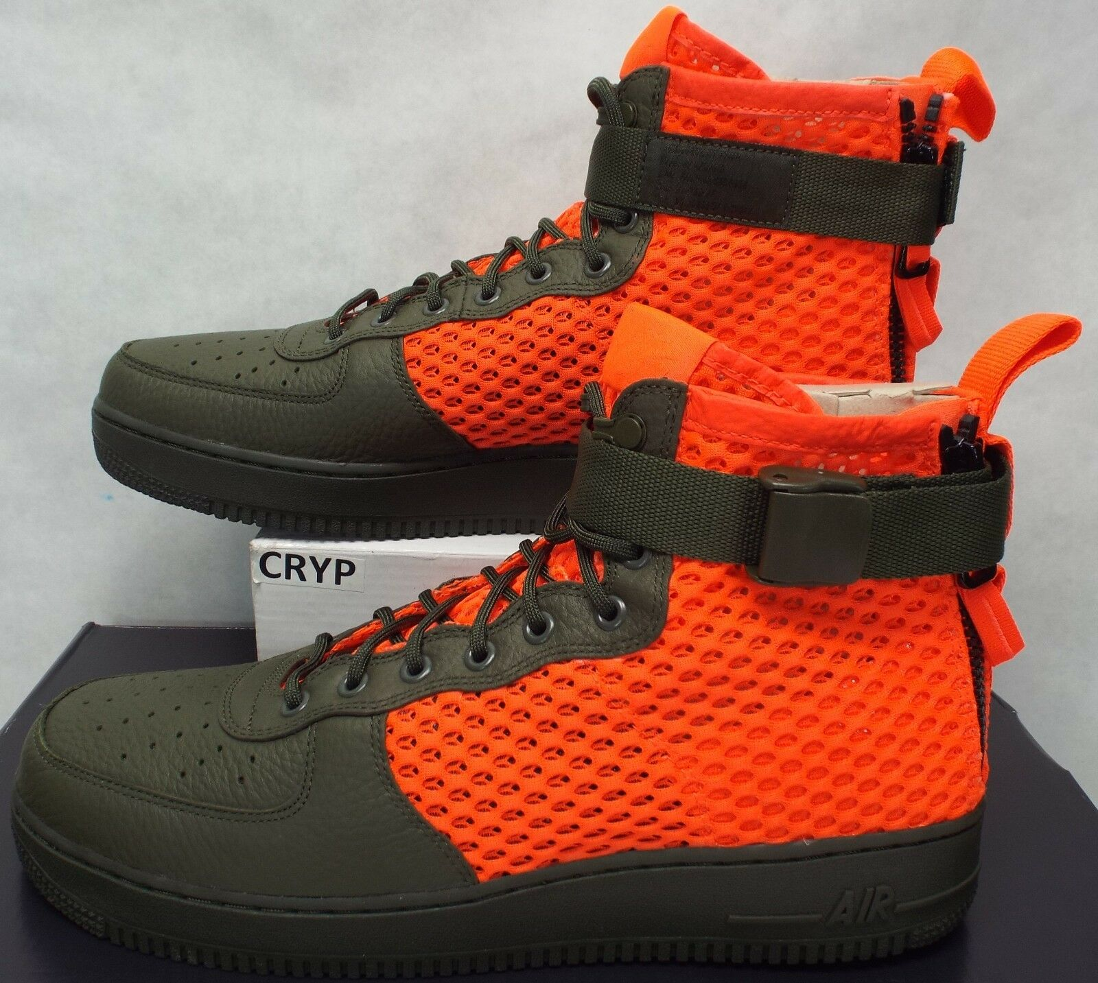 Mens 12 NIKE SF AF1 Mid QS Cargo Khaki Olive Total Crimson shoes  170 AA7345-300