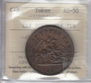 Br. 719 Province of Canada 1857 One Penny Token - CH#PC6D - ICCS AU-50