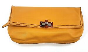 Lanvin-Mustard-Yellow-Leather-Fold-Over-Clutch-Bag-Made-In-Italy-Purse