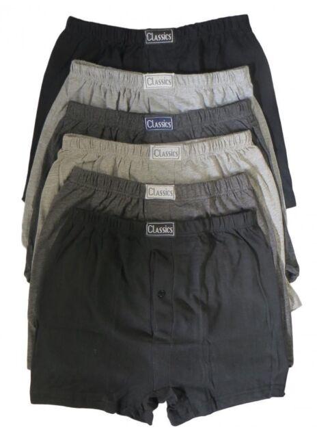 6 Pairs Men's Plain Boxer Shorts Underwear, Classic Cotton Rich Boxers S M L XL
