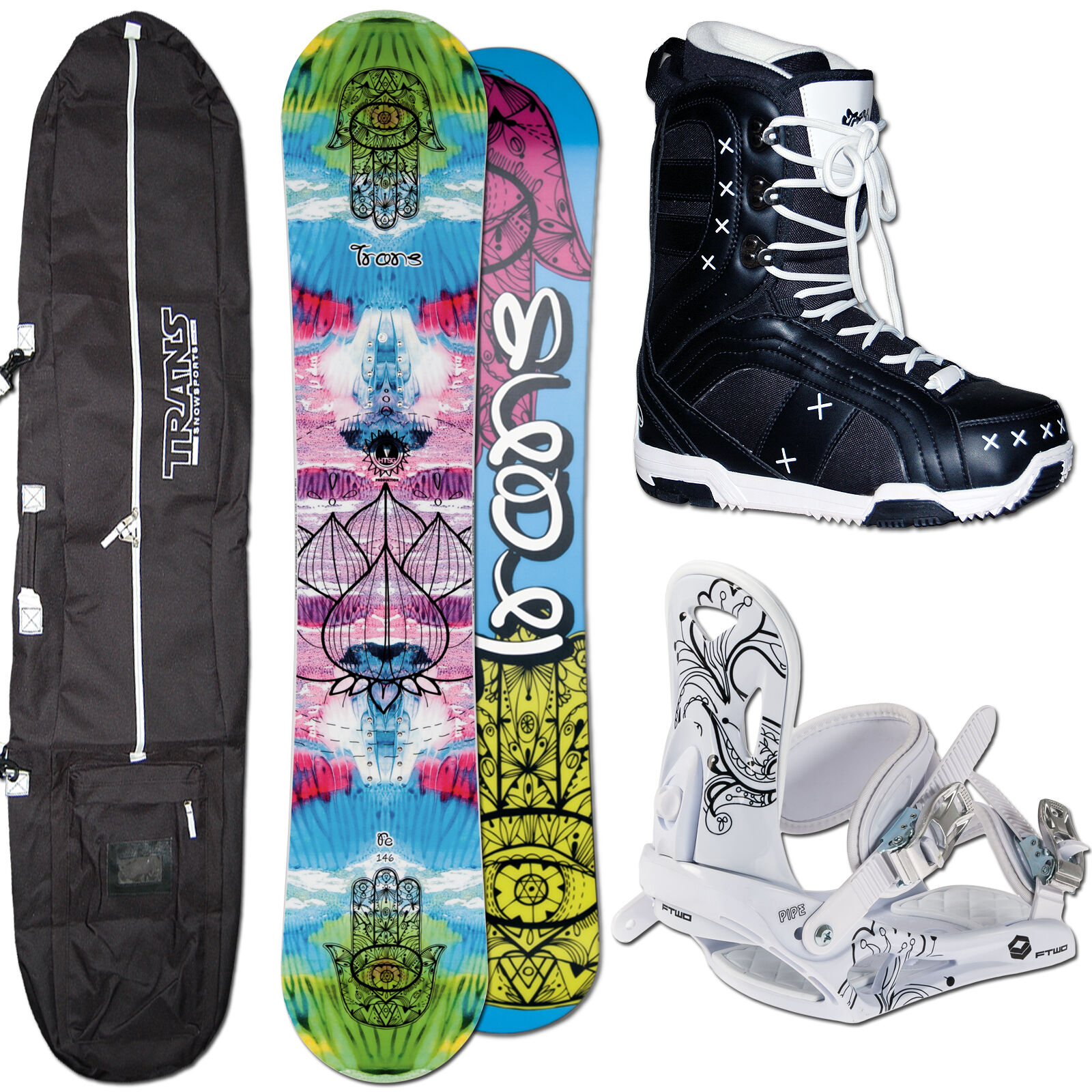 DAMEN SNOWBOARD TRANS FE 152 CM CAMBER + FTWO PIPE BINDUNG M + BAG + BOOTS