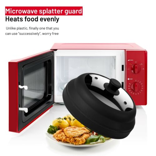 """Microwave Plate Cover Vented Glass Food Splatter Guard Collapsible 10.5/"""""""