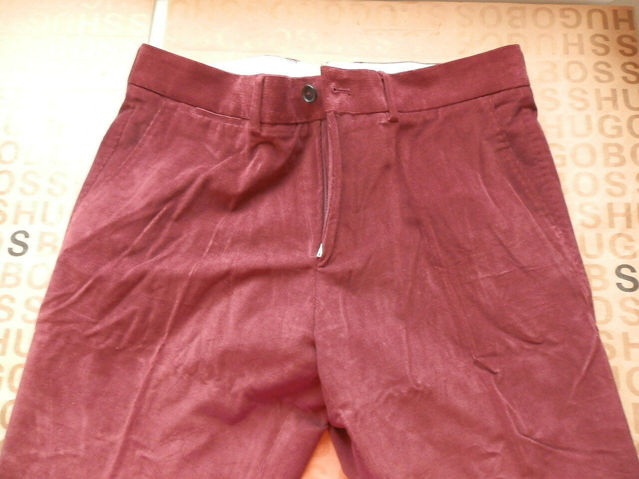 NEW HUGO BOSS MENS SELECTION RED BURGUNDY SUIT REGULAR FIT TROUSERS JEANS 34 R