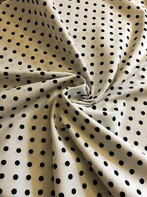 "POLKA DOT BLACK WHITE 100/% cotton fabric sold by the metre 45/"" wide"