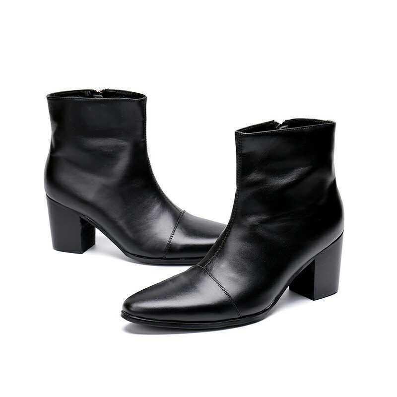 Zapatos De Cuero Negro Hombre para Hombre Negro de moda Puntera Puntiaguda Bloque Tacón Alto británico de baile 38-46 de2165