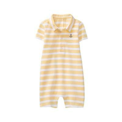 NWT Janie and Jack Boys Yellow//White Collared Striped Anchor 1-Piece 0 3 6 18 24