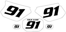 1991-2003 Yamaha DTR 125 Pre-Printed White Backgrounds Black Numbers