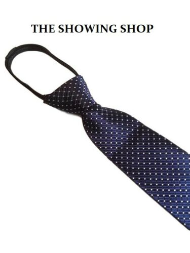 ADULTS EQUESTRIAN READY TIED ZIP SHOWING TIE NAVY POLKA DOT
