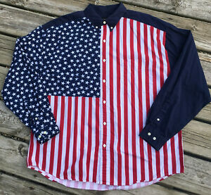 Vintage-Structure-XL-Shirt-Color-Block-American-Flag-Long-Sleeve-Patriotic-90-039-s