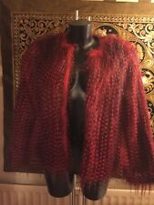 RIVER ISLAND RED AND BLACK VERY HAIRY SHORT FAUX FUR JACKET COAT SIZE 12 LOVELY!