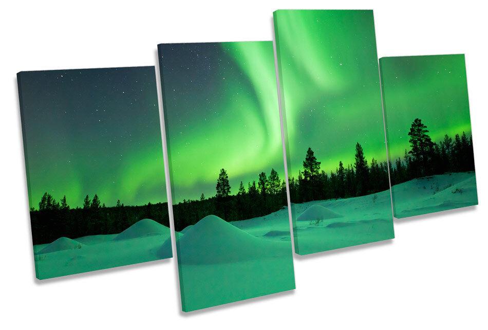 Grün Northern Lights Snow Bild MULTI CANVAS Wand Kunst Drucken